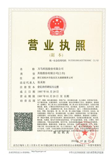 Licence commerciale en chinois
